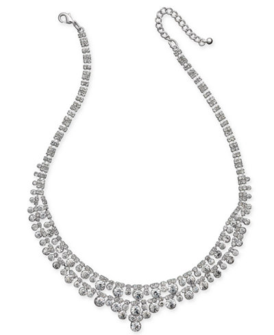 Charter Club Silver-Tone Multi-Crystal Statement Necklace, Created for Macy's