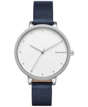 Skagen Women's Blue Leather Strap Watch 34mm SKW2581