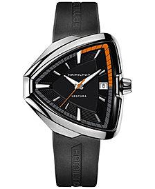 Hamilton Men's Swiss Ventura Elvis 80 Black Rubber Strap Watch 42mm H24551331