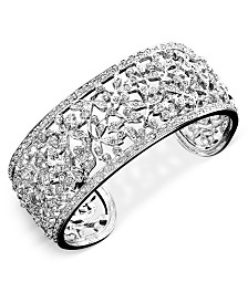 Eliot Danori Crystal Accent Floral Cuff Bracelet, Created for Macy's