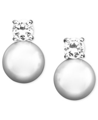 Lauren Ralph Gl Pearl Cubic Zirconia Stud Earrings 10 Mm Fashion Jewelry Watches Macy S