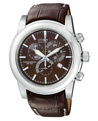 Citizen Men S Chronograph Eco Drive Brown Leather Strap