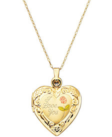 14k Gold Necklace, I Love You Reversible Locket