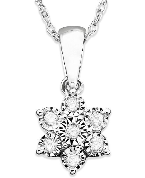 Macys diamond flower pendant necklace in 10k white gold 110 ct main image aloadofball Gallery