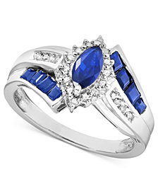 Sapphire (1-1/5 ct. t.w.) and Diamond Accent Ring in Sterling Silver