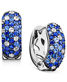 Saph Splash by EFFY Shades Of Sapphire Hoop Earrings (2-3/4 ct. t.w.) in Sterling Silver