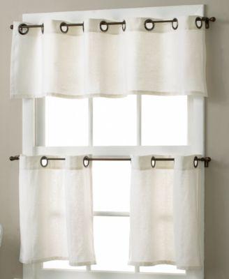 """Essex Linen Grommet 30"""" x 24"""" Cafe Curtains Pair"""