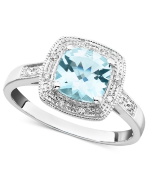 10k White Gold Ring, Aquamarine (1-1/3 ct. t.w.) and Diamond Accent Ring