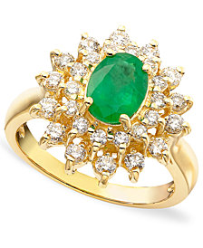 Royalty Inspired by EFFY Emerald (1-1/8 ct. t.w.) and Diamond (3/4 ct. t.w.) Ring in 14k Gold, Created for Macy's