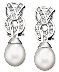 14k White Gold  Cultured Freshwater Pearl & Diamond (3/8 ct. t.w.) Earrings