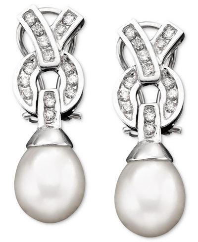 14k White Gold Cultured Freshwater Pearl & Diamond (3/8 ct. t.w.) Earrings