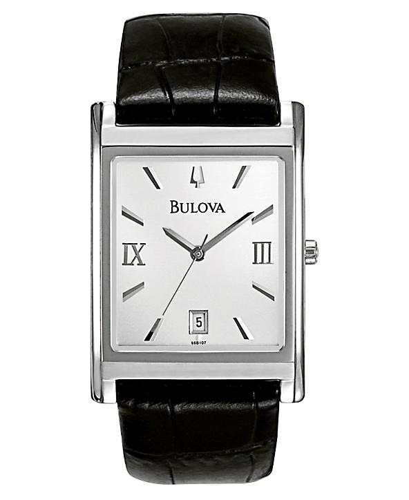 5cdca4b359bf Bulova Men's Black Leather Strap Watch 45mm 96B107 & Reviews ...