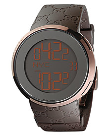 Gucci Unisex I-Gucci Collection Brown Rubber Strap Watch 45mm YA114209