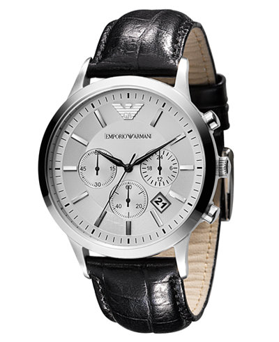 emporio armani watch men 39 s chronograph black leather. Black Bedroom Furniture Sets. Home Design Ideas