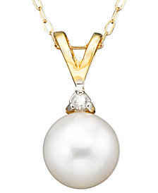 Belle de Mer Pearl Cultured Freshwater Pearl (6-1/2mm) and Diamond Accent Pendant Necklace in 14k Gold