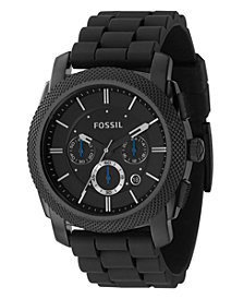 Fossil Men's Chronograph Machine Black Silicone Strap Watch 45mm FS4487