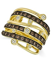 Chocolate and White Diamond Multi-Row Ring (3/4 ct. t.w.) in 14k Gold