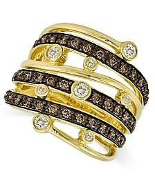 Le Vian Chocolate and White Diamond Multi-Row Ring (3/4 ct. t.w.) in 14k Gold