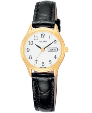 Pulsar Women's Black Leather Strap Watch 30mm PXU012