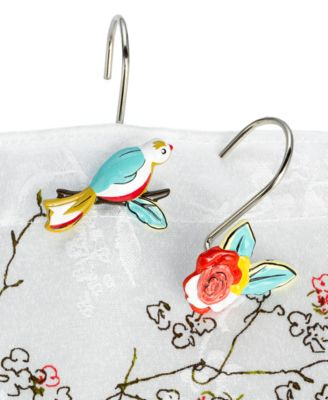 Curtains Ideas bird shower curtain hooks : Lenox Simply Fine Bath Accessories, Chirp Shower Curtain ...
