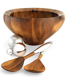 Nambe Yaro Medium Salad Bowl with Servers