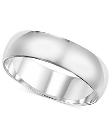 14k White Gold Ring, 6mm Wedding Band