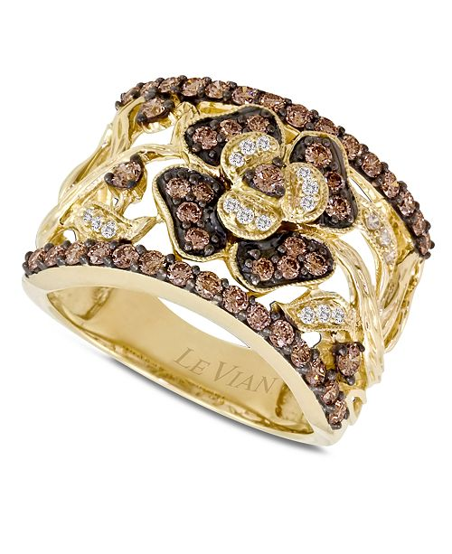 Chocolate Diamonds® Flower Ring (1 ct. t.w.) in 14k Gold