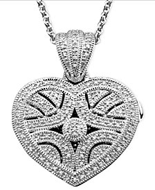 Sterling Silver Pendant, Diamond Heart Locket (1/3 ct. t.w.)