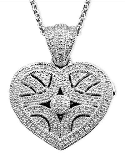 Sterling Silver Pendant, Diamond Heart Locket (1/3 ct. t.w.)