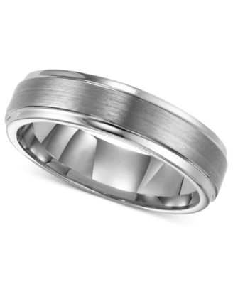 Triton Men S Tungsten Carbide Ring 6mm Comfort Fit Wedding Band Rings Jewelry Watches Macy