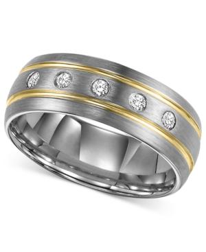 Triton Men's Diamond Stripe Wedding Band in Tungsten Carbide (1/6 ct. t.w.)