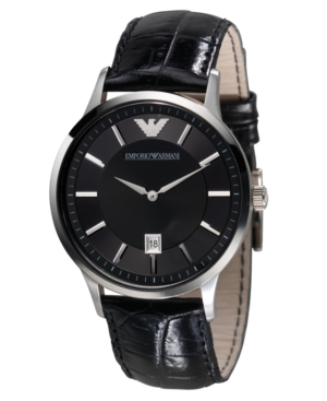 Emporio Armani Watch, Men's Black Leather Strap AR2411