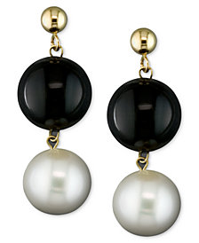 Cultured Freshwater Pearl (8-1/2mm) and Onyx (10mm) Drop Earrings in 14k Gold