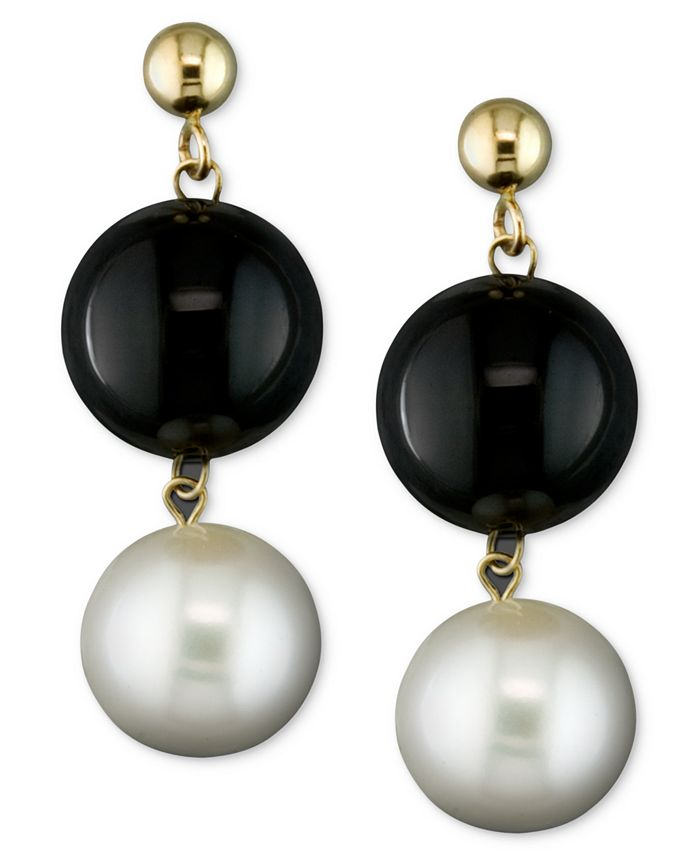 Macy's - Cultured Freshwater Pearl (8-1/2mm) and Onyx (10mm) Drop Earrings in 14k Gold