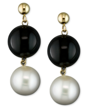 Cultured Freshwater Pearl (8-1/2mm) and Onyx (10mm)
