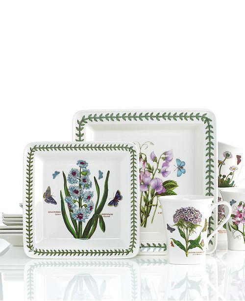 Portmeirion Dinnerware, Botanic Garden Square 12 Piece Set, Service for 4