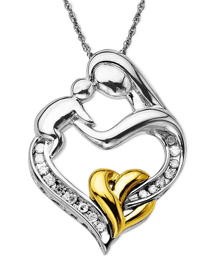Macy's - Mother and Child Diamond Pendant Necklace in 14k Gold and Sterling Silver (1/10 ct. t.w.)