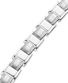 Men's Stainless Steel Bracelet, Diamond Square Link (3/4 ct. t.w.)