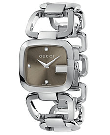 Gucci Women's Swiss G-Gucci Stainless Steel Bracelet Watch 24x25mm YA125401