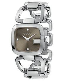 Gucci Women's Swiss G-Gucci Stainless Steel Bracelet Watch 24x25mm YA125401