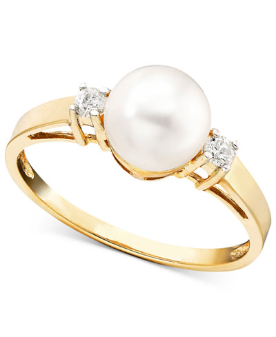 Cultured Freshwater Pearl (7mm) and Diamond Accent Ring in 14k Gold