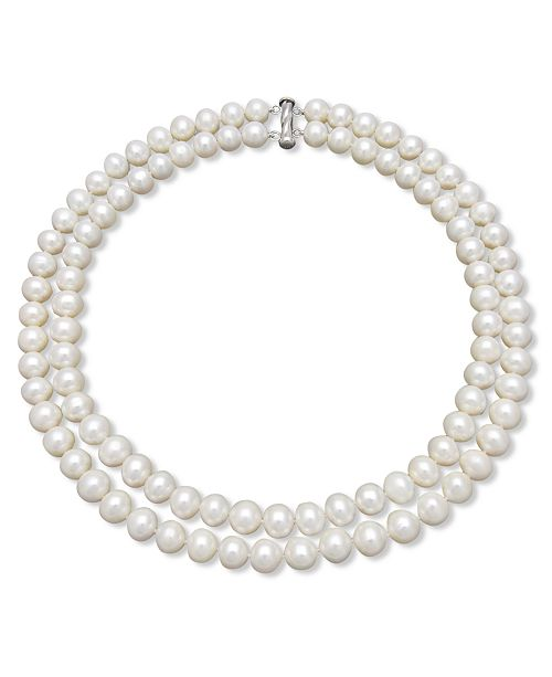 Belle de Mer Two-Row Cultured Freshwater Pearl Strand Necklace in Sterling Silver (9-1/2-10-1/2mm)