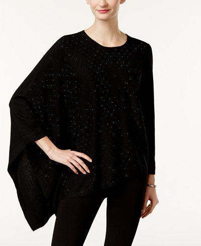 Anne Klein Studded Poncho Sweater