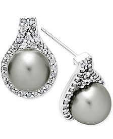 Cultured Tahitian Pearl (9mm) and Diamond (5/8 ct. t.w.) Drop Earrings in 14k White Gold