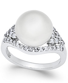 Cultured White South Sea Pearl (11mm) and Diamond (5/8 ct. t.w.) Ring in 14k White Gold