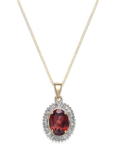 Rhodolite Garnet (1 1/2 ct. t.w.) and Diamond(1/3 c.t.t.w.) Swirl Pendant Necklace in 14k Gold