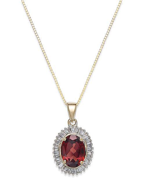 Macy's Rhodolite Garnet (1 1/2 ct. t.w.) and Diamond(1/3 c.t.t.w.) Swirl Pendant Necklace in 14k Gold
