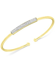 Wrapped in Love™  Diamond Bar Flexie Bangle Bracelet (1/6 ct. t.w.) in 14k Gold-Plated Sterling Silver, Created for Macy's