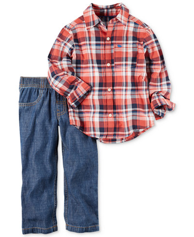 Carter's 2-Pc. Plaid Shirt & Pull-On Jeans Set, Baby Boys (0-24 months)