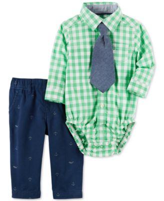 baby guess outlet vgrr  Carter's 3-Pc Tie, Plaid Shirt Bodysuit & Schiffli Pants Set, Baby